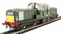 Class 17 diesel D8585 in green with small yellow panels