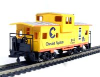 American 36ft wide vision caboose in Chessie livery