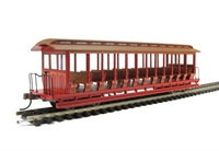Jackson Sharp open-side excursion car - painted, unlettered, red & brown