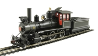 American 4-4-0 inside frame steam loco Black with red cab windows and white pinstripes