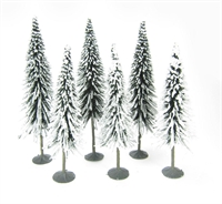 "5"" - 6"" Pine Trees With Snow - Pack Of 6"