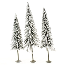 "8"" - 10"" Pine Trees With Snow - Pack Of 3"