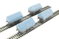 Pack of 4 5 plank china clay wagon with hood in BR bauxite - weathered
