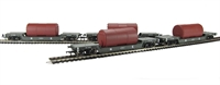 Pack of 4 45 Ton bogie well wagon in LNER grey with boiler load