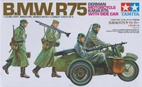 BMW R75 with Side Car, driver, rider & 2 walking figures