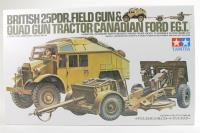British 25 pounder & C8 Quad Gun Tractor with figure - Pre-owned - Like new