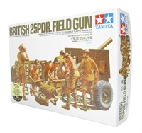British 25pdr field gun with limber & 6 figures in desert uniforms
