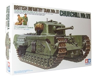 British Churchill Mk.VII with 3 crew and peasant figure with cart