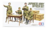 Japanese Army Officers with table, chairs, barrels and storage boxes