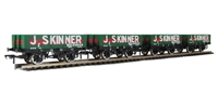 Pack of 4 5 plank wagon with wooden floor in J Skinner livery