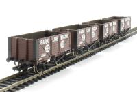 Pack of 4 7 plank end door wagon in Park Lane Wigan livery