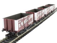 "Pack of 4 8 plank end door wagon in ""R. W. Hill & Son"" livery"