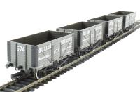 "Pack of 4 8 plank end door wagon in ""William Harrison"" livery"