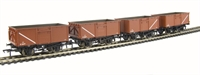 Pack of 4 16 ton steel mineral wagon with top flap doors in BR bauxite