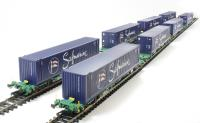 Pack of 4 Intermodal bogie wagon with 2 x 45ft containers in Safmarine livery