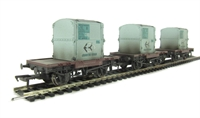 Pack of 3 Conflat wagons in BR bauxite with AF containers in light blue - weathered