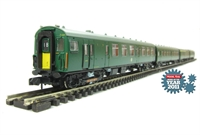 Class 411 4 CEP 4 car EMU in BR green (Southern Region) with yellow warning panels