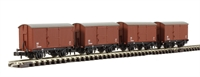 Pack of 4 12 Ton Eastern Ventilated Van Planked Ends in LNER Oxide