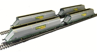 Pack of 4 100 tonne HHA bogie hopper wagon in Freightliner Heavy Haul livery with sliding end door