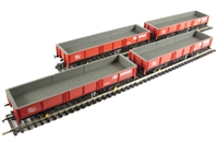 Pack of 4 31 tonne OCA dropside open wagon in Railfreight livery