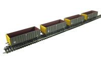 Pack of 4 MEA 45 tonne open box wagon in Coal sector grey & yellow.