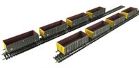 Megapack of 8 MEA 45 tonne open box wagon in Coal sector grey & yellow.