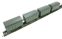 Pack of 4 12 ton Southern 2+2 planked ventilated van in BR grey livery