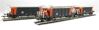Pack of 4 40 Ton Seacow (ex-Sealion) YGB bogie hopper wagon in Loadhaul livery.