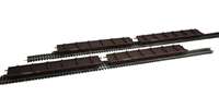 Pack of 4 80 ton BDA bogie bolster wagon in BR Bauxite with steel pipe load