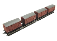 Pack of 4 12 ton planked ventilated van in BR bauxite (early)