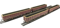 Pack of 4 MBA Megabox high-sided bogie box wagon in EWS livery - weathered (without buffers)
