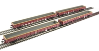 Pack of 4 MOA Monsterbox low-sided bogie box wagon in EWS livery