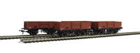 Pack of 4 13 Ton high sided steel open wagon with smooth sides in BR bauxite (early)