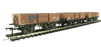Pack of 3 13 Ton high sided steel open wagons in BR bauxite - weathered