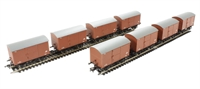Megapack of 8 12 Ton non-ventilated van with corrugated ends in BR bauxite (early)