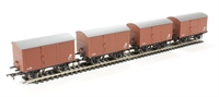 Pack of 4 12 ton non-ventilated van with corrugated ends in BR bauxite (late)