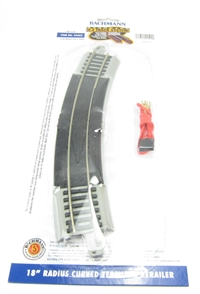 """18"""" Radius curved terminal rerailer with connecting wire for power. Grey"""