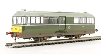 Railbus W&M E79962 in green with large yellow panel - weathered.