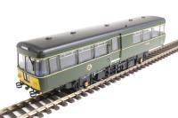 Park Royal Railbus SC79974 in BR green with small yellow warning panels
