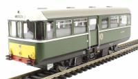Railcar W79977 in BR dark green livery with small yellow warning panels & white cab roofs