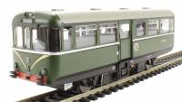 Railcar W79978 in BR dark green livery with speed whiskers