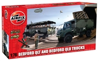 Bedford QL trucks 1 x QLT troop carrier and 1 x QLD general purpose truck with British Army marking transfers