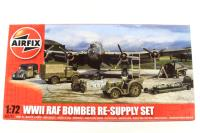 WWII Bomber Re-Supply Set with bombs, ammunition, fuel, Bedford truck, Austin Tilly & other accessories - Pre-owned - Like new