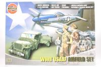 WWII USAAF Airfield Set with Jeep, Trailer, P-51, USAAF Figures, Nissen Hut - Pre-owned - imperfect box