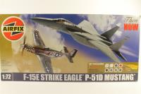 F-15/P-51 Twin - Pre-owned - imperfect box, missing paint brushes, paint & poly cement