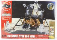 One Small Step For Man set with Lunar Module, astronauts, lunar rovers and base.