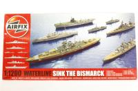 Sink the Bismarck! set with HMS Cossack, HMS Suffolk, HMS Hood, Bismarck, HMS Ark Royal and Prinz Eugen - Pre-owned - imperfect box