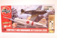 Dogfight Double Curtiss P-40B with USAF marking transfers & Mitsubishi Zero with Japanese Air Force marking transfers.  - Pre-owned - Like new