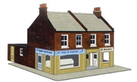 Redbrick corner terraced shops (low relief)