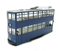 Double deck tram car in plain blue